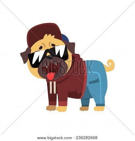 Funny Pug Dog Character Dressed As Hiphop Dancer Vector Illustration Isolated On A White Background.