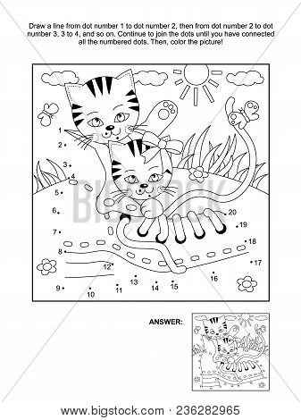Connect The Dots Picture Puzzle And Coloring Page With Cute Playful Kittens And Old Shoe. Answer Inc