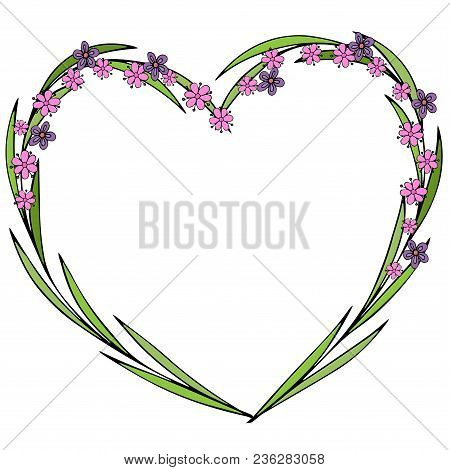Hand Drawn Flowers Arranged In A Shape Of Heart. Doodle Style. Wildflowers Wreath Isolated On White