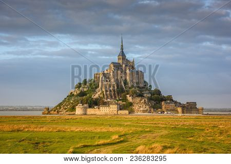 Mont Saint Michel Monastery Abbey On The Island In Normandy, Northern France