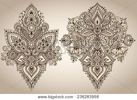 Vector Set Of Henna Floral Elements Based On Traditional Asian Ornaments. Paisley Mehndi Tattoo Dood