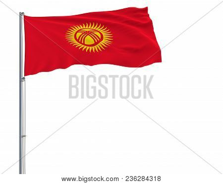 Isolate Flag Of Kyrgyzstan On A Flagpole Fluttering In The Wind On A White Background, 3d Rendering