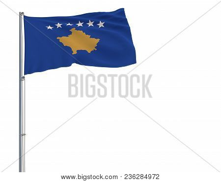 Isolate Flag Of Kosovo On A Flagpole Fluttering In The Wind On A White Background, 3d Rendering