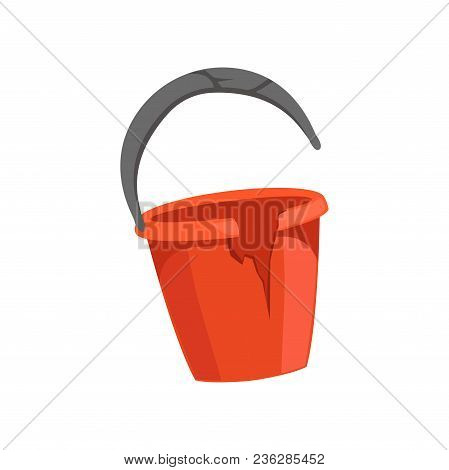Broken Bucket, Recycling Garbage Concept, Utilize Waste Vector Illustration Isolated On A White Back