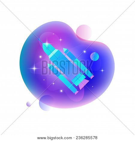 Vector Ui Illustration Of A Rocket Floating In An Outer Space On Bright Blue Spot.