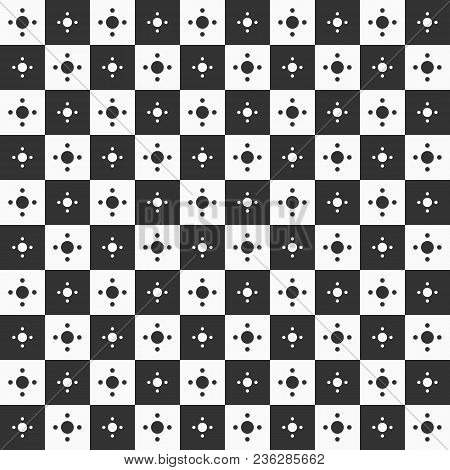 Seamless Geometric Pattern Of Squares And Circles Inside. Monochrome Vector Background. Repeating Ch