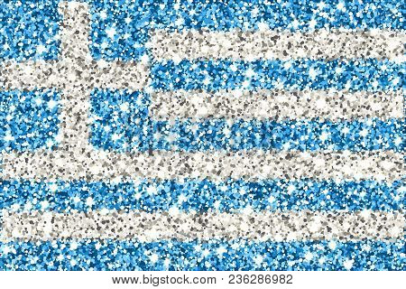 Hellenic Republic Sparkling Flag. Icon With Greece National Colors With Glitter Effect In Official P