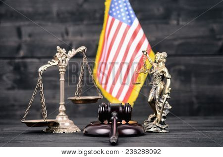 Law And Justice , Legality Concept, Judge Gavel, Lady Justice, Scales Of Justice And Usa Flag On A B