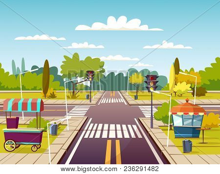 City Street Sidewalks Vector Illustration Of Urban Road With Street Food Vendor Cart And Booth. Cart
