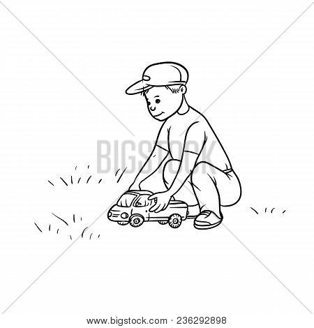 Vector Sketch Little Boy Rolls Toy Lorry Car On Their Haunches. Active Play Children Teenager Walk I