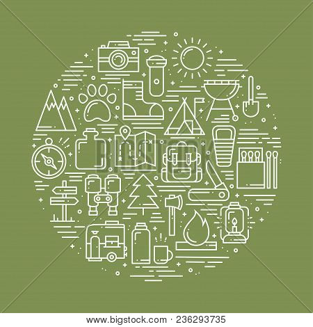 Circle With Hiking And Camping Line Symbols In Line Style. Outdoor Camp Adventure Concept Theme. Uni