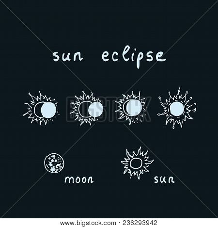 Vector Outline Of Hand Drawn Solar Eclipse With Lettering Composition Sun Eclipse. Sketch Solar Ecli