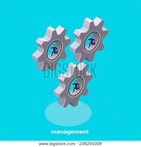 People In Business Suits Run Inside The Spinning Gears, The Image Is Isometric Style