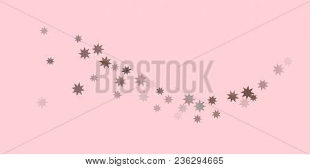 Abstract Fly Confetti Star. A Falling Star Background. Casual Brown And Gray Stars Shine On A Pink B
