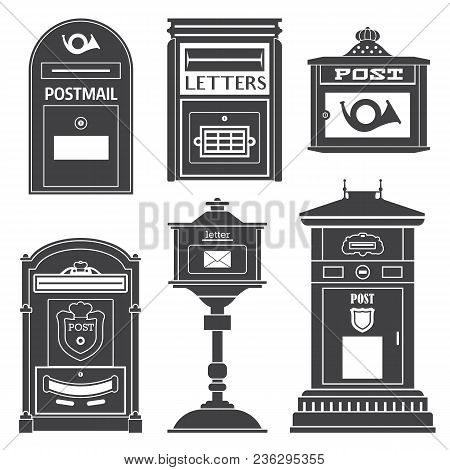 Vintage Street English Post Boxes And Mailboxes Icons. Outline Monochrome Classic Mail Letterboxes W