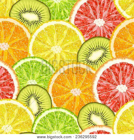 Vector Seamless Pattern From Exotic Tropical Fruits Slices. Lemon, Grapefruit, Orange, Lime And Kiwi