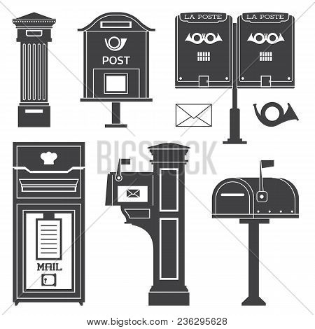 Vintage Street Mail Post Boxes And Mailboxes Icons. Outline Monochrome Letterboxes With Envelope And