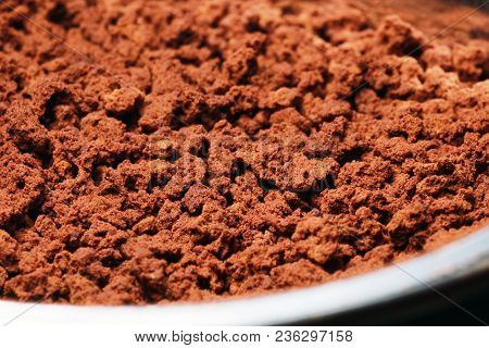 Instant Coffee In Granules. Instant Coffee Background Macro.