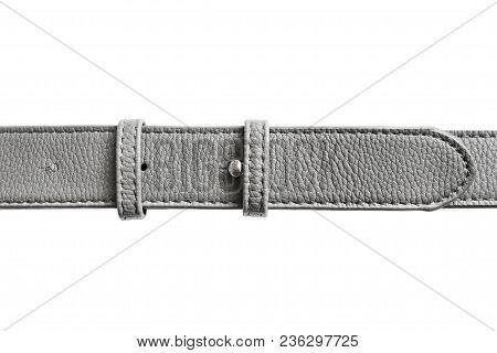 Grey Leather Belt Closeup On White Background