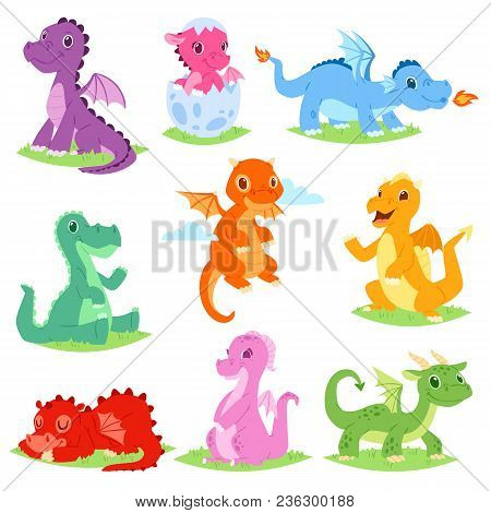 Cartoon Dragon Vector Cute Dragonfly Or Baby Dinosaur Illustration Set Of Dino Characters From From