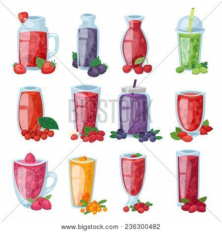 Smoothie Vector Healthy Berry Drink In Glass Or Fresh Beverage Mix Of Strawberry Blueberry And Raspb