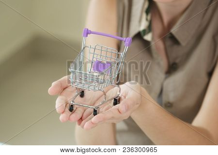 Woman Holding A Small Shopping Trolley.