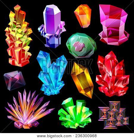 Crystal Vector Crystalline Stone Gem And Precious Gemstone For Jewellery Illustration Set Of Jewel O