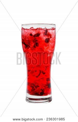 One-color, Red, Clear Cocktail, Cold Tea In A Tall Glass With Crushed Ice Of Frappe And Berries. Sid