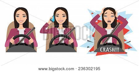 Don T Talk While Driving. Asian Woman Had An Accident. Woman Holding Mobile Phone While Driving Car,