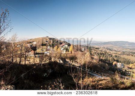 View To Ochodzita Hill With Few Houses Bellow From Koczy Zamek Hill Above Koniakow Village In Beskid