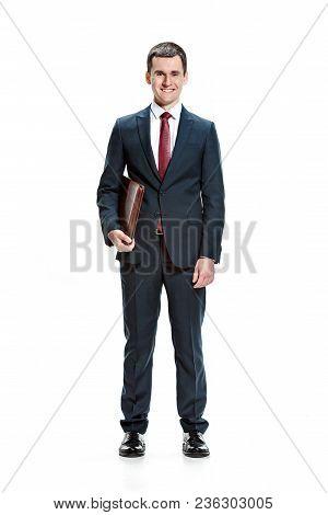Full Body Or Full-length Portrait Of Businessman Or Diplomat With Folder On White Studio Background.