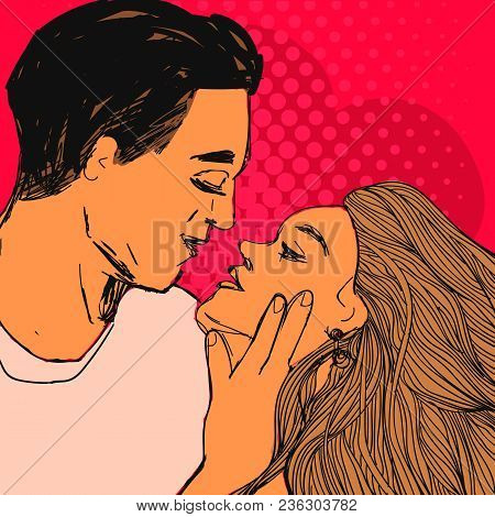 Couple In Love, Young Woman And Man Want To Kiss Each Other. Vector Valentine's Day Pop Art Style Il
