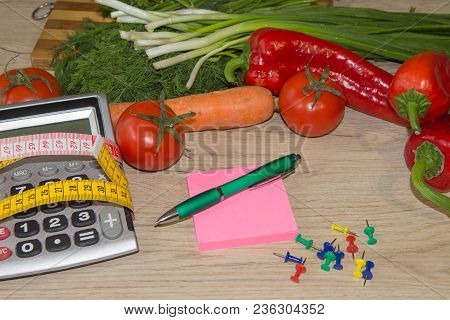 Healthy Natural Organic Food Diet, Ripe Harvest. Fruit Composition, Measuring Tape, Calculator. Diet