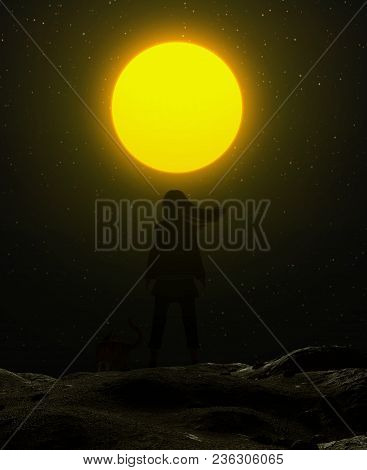 Girl With Her Cat At The Top Of The Mountain Standing Against Starry Night Sky With Big Moon,3d Illu