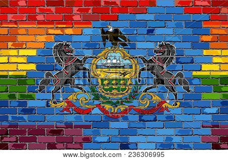 Brick Wall Pennsylvania And Gay Flags - Illustration, Rainbow Flag On Brick Textured Background,  Ab