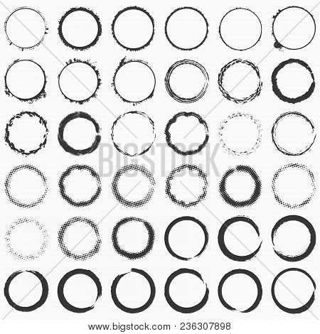 Hand Drawn Grunge Brushed Ring Texture. Distress Label, Logo Design Aged Element. Big Bundle Collect