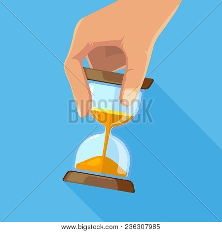 Business Concept Picture Of Hourglasses In Hand. Time Hourglass, Clock Timer Sandglass. Vector Illus