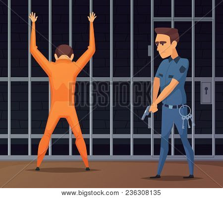Prisoners On Inspection Near The Camera. Criminal In Prison, Policeman Inspection And Search Camera,