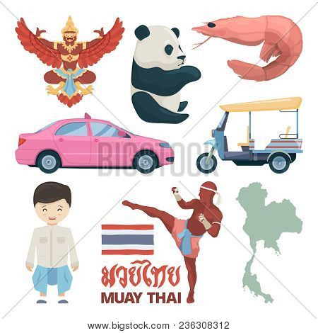 Collection Of Thailand Landmarks And Different Traditional Symbols. Thailand Culture, Landmark Tradi