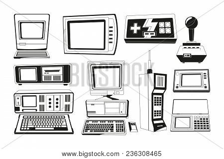 Monochrome Illustrations Of Technician Gadgets. Retro And Vintage Gadget, Phone And Radio Electronic