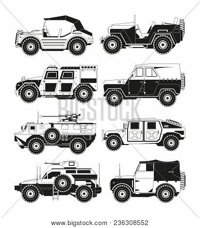 Monochrome Pictures Of Military Vehicles. Illustrations Of Army. Vector Vehicle Military, Transport