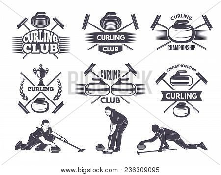 Labels For Curling Sport Team. Curling Sport With Stone, Competition Badge And Label, Vector Illustr