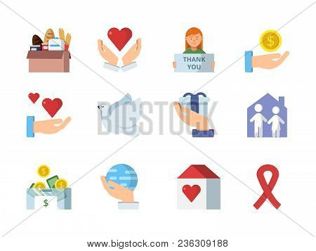 Colored Vector Symbols Of Charities. Charity And Help, Support And Donate Icons Of Set Illustration