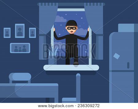 Thief Broken In Through The Window. Burglar Broken Window, Criminal Robber In Mask, Vector Illustrat