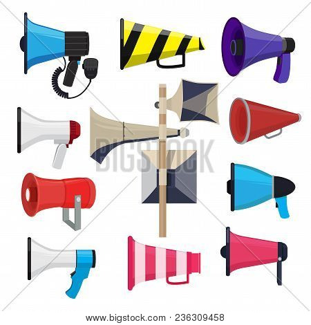 Different Loud Speakers. Symbols For Announce Loudspeaker For Speech, Megaphone And Bullhorn. Vector