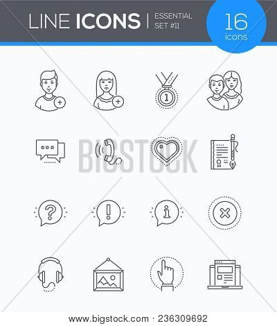 Social Media - Modern Line Design Style Icons Set. To Add Female Or Male User, Medal, Friends, Chat,