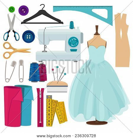 Vector Pictures Of Sewing Tools Isolate On White Background. Illustration Of Sewing Machine, Thread