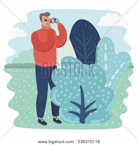 Vector Cartoon Illustration Of Funny Detective Character Looking Through Binoculars From Bush, Spyin