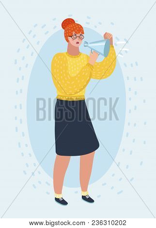 Vector Cartoon Illustration Of Redhead Woman In Glasses Screaming Angry At Loudspeaker. Protesting A