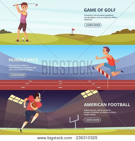 Design Of Horizontal Banners With Sport Peoples In Action Poses. Sport Football Championship, Golf A